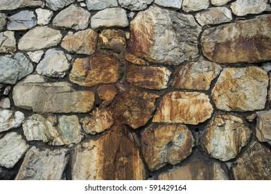 natural stone wall with huge blocks
