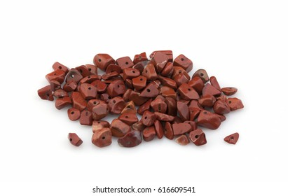 Natural stones crumb for ornaments on a white background