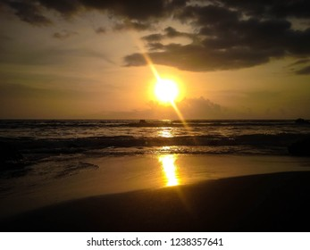 Natural Sunset Shine On The Beach Of Batu Bolong At Canggu Village, Badung, Bali, Indonesia
