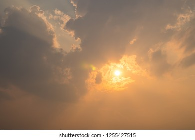 Natural of sunset sunrise for bright dramatic cloud sky. Landscape of countryside scenic colorful on sun skyline. Views of nuture concept