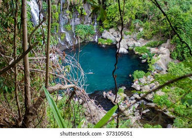 Natural swimming pool in tropical forest. Reunion island, France