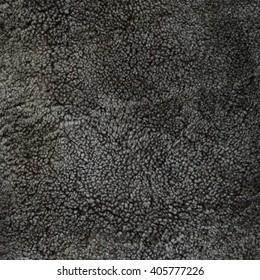 Natural taupe sheepskin fur texture, background, close up