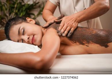 Natural thai massage in spa.