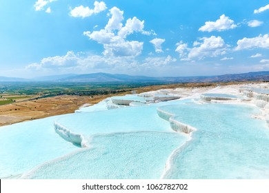 Natural travertine pools and terraces in Pamukkale, Turkey