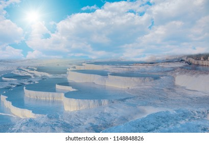 Natural travertine pools and terraces in Pamukkale. Cotton castle  - Southwestern Turkey,