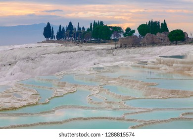 Natural travertine pools and terraces in Pamukkale, Turkey.