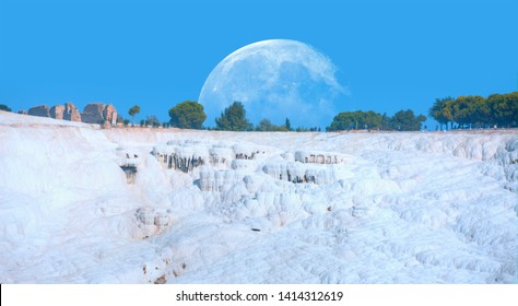 """Natural travertine pools and terraces in Pamukkale. Cotton castle in southwestern Turkey """"Elements of this image furnished by NASA """""""