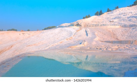 Natural travertine pools and terraces in Pamukkale  - Cotton castle in southwestern Turkey