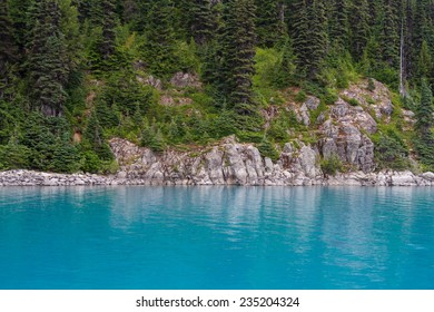 The natural turquoise of Garibaldi Lake in Canada, caused by glacial flour in the water