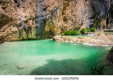 Natural Turquoise Pools of Millpu in Ayacucho - Peru.