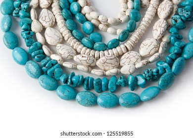 natural turquoise and white beads
