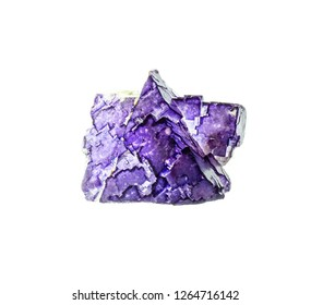 Natural two-color white-purple fluorite crystal on white background