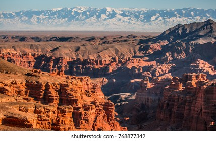 Natural unusual landscape red canyon of unusual beauty is similar to the Martian landscape, the Charyn canyon
