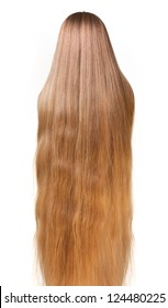 natural very long blonde hair isolated on white