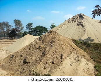 Natural View A Pile Of Sifted River Sand Material For Construction Blue Sky Background