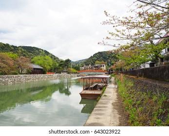 Natural view of Uji river and wooden boat in spring season, Kyoto, Japan