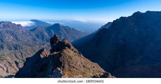 Natural viewpoint of the Caldera de Taburiente on the trek near Roque de los Muchachos one summer afternoon, La Palma, Canary Islands. Spain