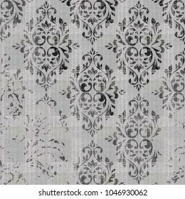 natural  vintage pattern with damask. Hand drawn background. Can be used for fabric, wallpaper, tile, wrapping, covers and carpet. Islam, Arabic, Indian, ottoman motifs. Monochrome ornament