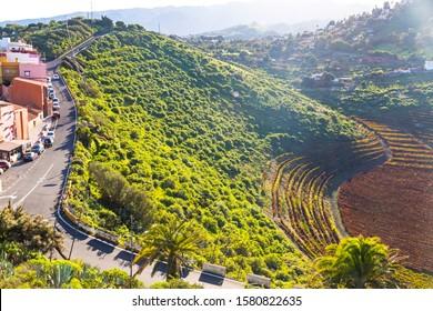 Natural volcanic landscape of Caldera de Bandama, Gran Canaria island, Spain. Picturesque view from Pico de Bandama