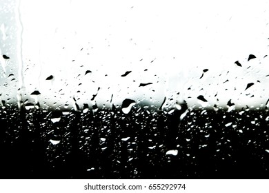 natural water drops on window glass rainy season concept