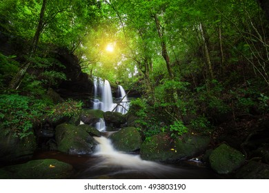 Natural waterfall in deep forest