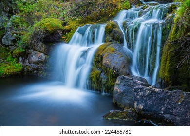 Natural waterfall in eastern Finland. Long exposure shot with ND -filter