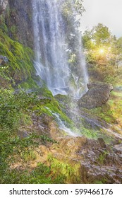 natural waterfall in the mountain