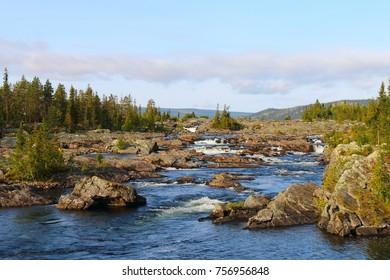 litsjöforsen, a natural waterfall near saxnäs in sweden, europe, scandinavia