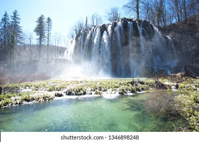 Natural waterfall in Plitvice lakes national park