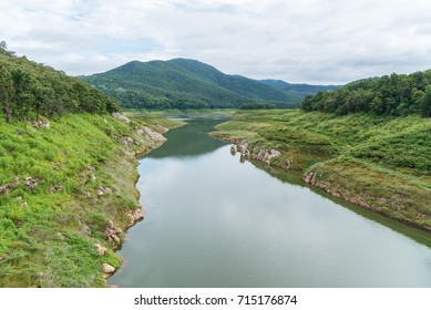 Natural watershed on the cloudy day in Mae Guang dam reservoir of Doi Saket, Chiang Mai, Thailand