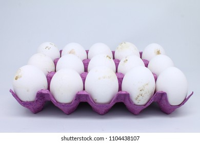 natural white egg in cardboard box isolated.