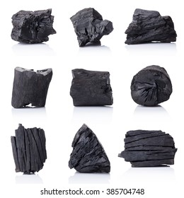 Natural wood charcoal Isolated on white, traditional charcoal or hard wood charcoal, isolated on white background.