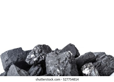 Natural wood charcoal Isolated on white
