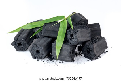 Natural wood charcoal isolated on white,Non smoke and odorless charcoal
