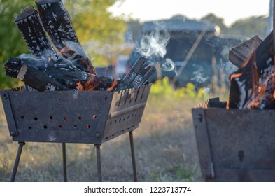 Natural wood fire for BBQ, mangal fire to outdoor. Mangal fire, nature fireplace, nice HD real fire. The dying embers in the fireplace. BBQ mangal.