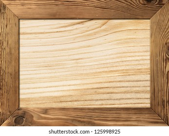 Natural wood frame with wooden plank inside
