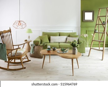 natural wood furniture green wall decor, modern lamp