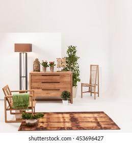 natural wood furniture white wall decor