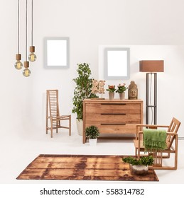 Natural Wood Furniture White Wall Decor, Modern Lamp And Frame