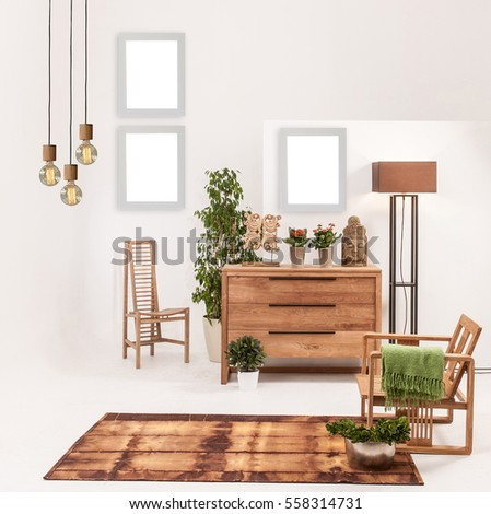Natural Wood Furniture White Wall Decor Stockfoto Jetzt Bearbeiten