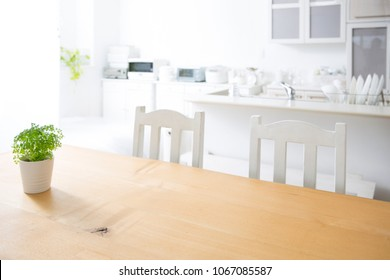 Natural wooden kitchen table