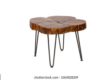 Natural Wooden side table isolated on white background