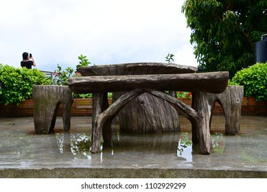 Natural wooden table in Thailand