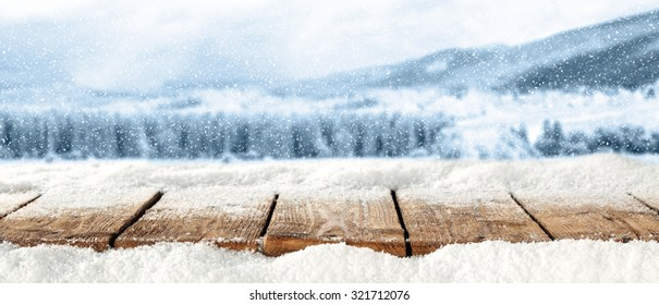 natural wooden top place and snow space