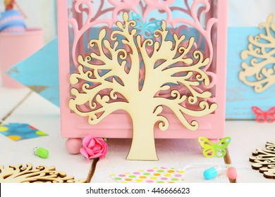 Natural wooden tree embellishments for DIY crafts