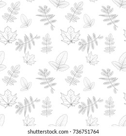 Naturalistic autumn leaves on White. Seamless pattern.  Illustration.