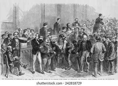 The naturalization of foreigners in New York City. Judge McCunn sitting in the Superior Court, passing on applications for citizenship on Friday evening, October 22, 1869.