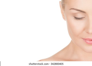 Naturally beautiful. Cropped closeup portrait of a beautiful mature woman smiling with her eyes closed