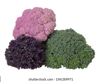 Naturally colourful vegetables, isolated on white. Raw cauliflower, broccoli and purple sprouting florets. Healthy assortment.
