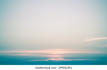 nature background blue sky with sun set blurry vintage style